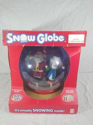 """Gemmy 12"""" Snow Globe Santa & Penguin Table Top Christmas Animated Rare Org Box"""