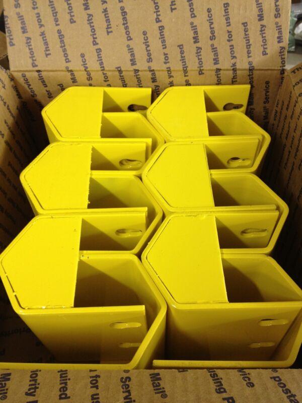 "LOT of 12 NEW 5"" Pallet Rack Upright Post Protector Guard Boot Yellow Ridg-U-Rak"