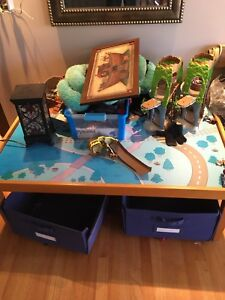 Play table with Bins. Jake the pirate add in!
