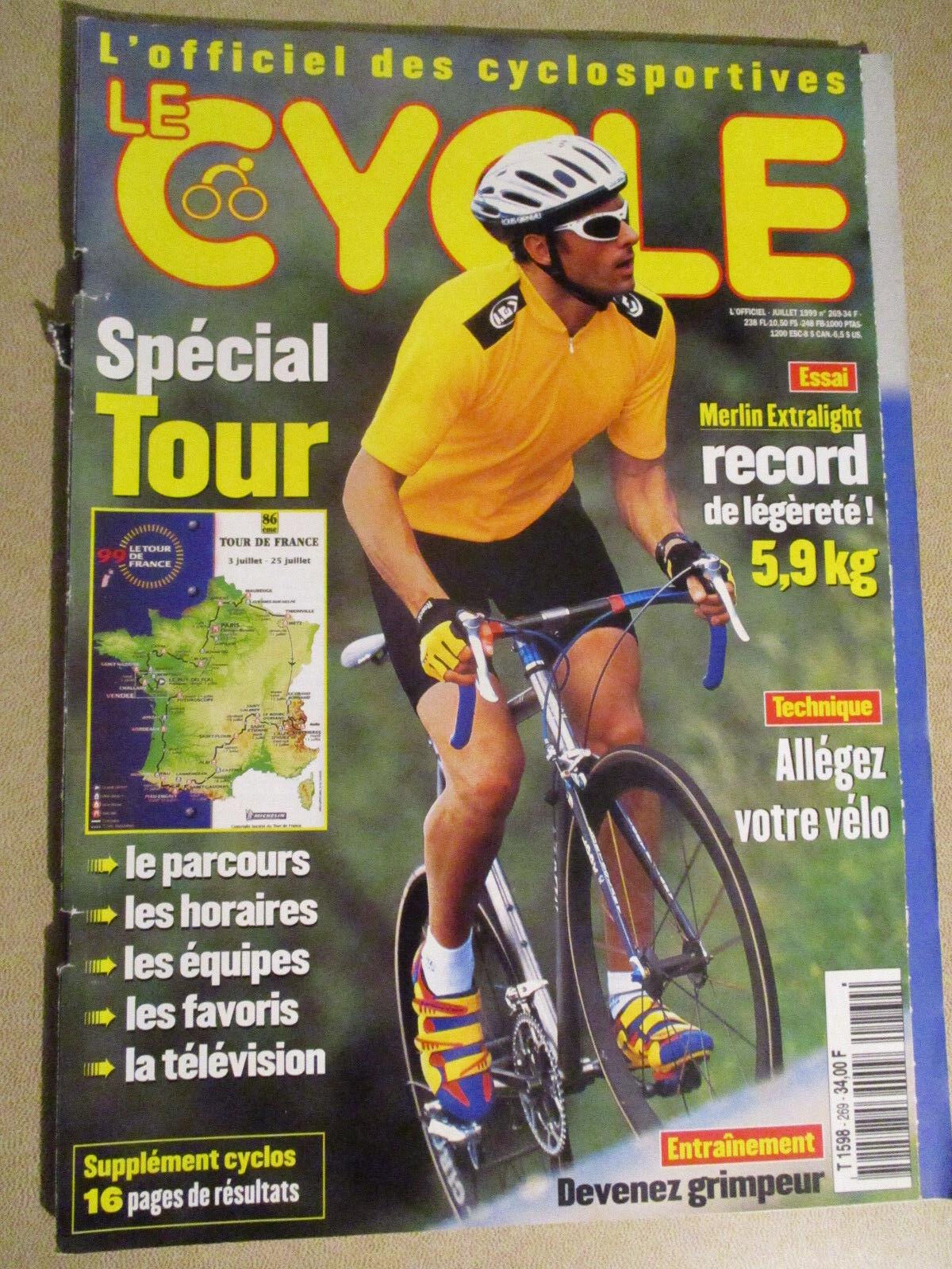 LE CYCLE N°269 : JUILLET 1999 : GUIDE DU TOUR DE FRANCE AVEC CARTE POSTER