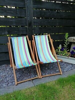 Two traditional kids striped hardwood deck chairs in lovely condition from ELC