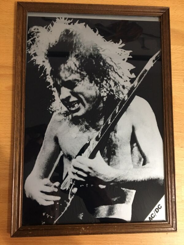 Vintage Framed Angus Young AC/DC Picture Print on Glass ( ACDC Mirror)