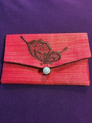 Handmade Credit/Business Card Holder With Embroidered Butterfly