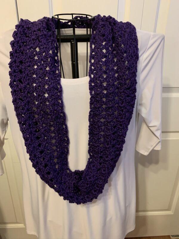 Handmade Crochet Infinity Cowl Scarf In Purple