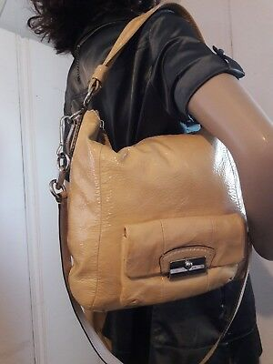 (Coach Kristin Patent leather LRG Hobo shoulder satchel Gold/Tan purse tote 16014)