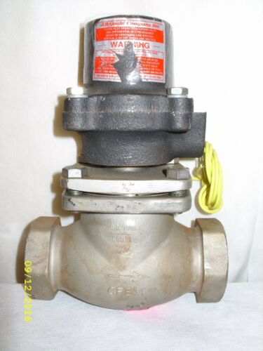 """JD Gould Company Type K24 Solenoid Valve 1-1/2"""" NPT 120 VAC Stainless Steel NOS"""