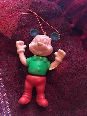 Mickey Mouse Walt Disney 1930's celluloid articulated Christmas ornament RARE