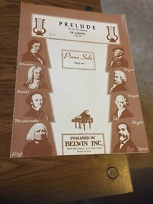 Vintage Sheet Music - PRELUDE no 15, the Raindrop, Chopin op 28 Piano Solo Chopin Prelude Sheet Music