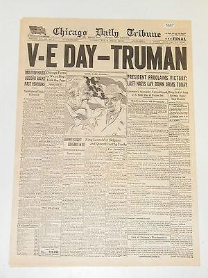 4 WWII Newspaper Headlines Truman Corregidor Falls Roosevelt Dead Reprints