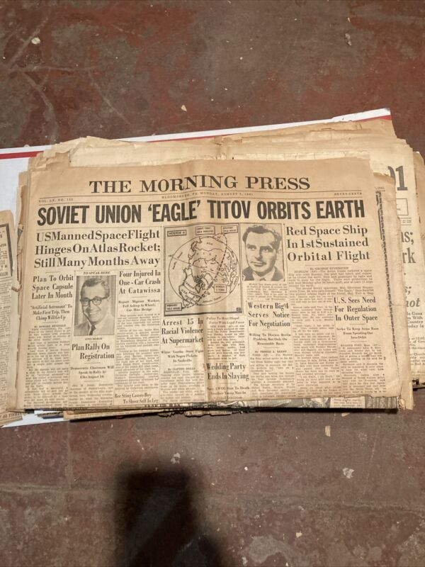 08/07/1961 Morning Press Bloomsburg PA Newspaper Soviet Union Red Space Eagle