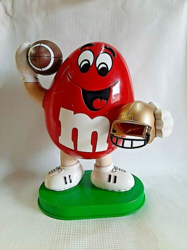 Red M&M Candy Dispenser Football Helmet Used Licensed Collectible Figure