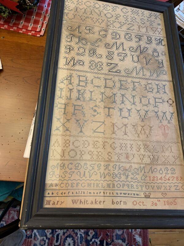 Professionally Framed 1805 Antique Sampler Repro - Barbara Huston Queenstown