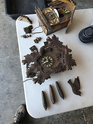 Vintage German E Schmeckenbecher Cuckoo Wall Clock REPAIR PARTS Weights Included