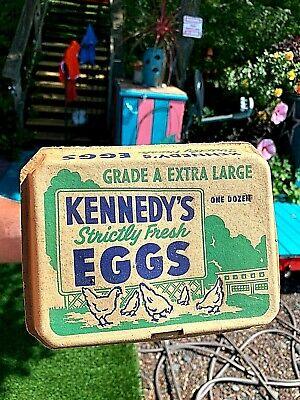 Vintage Kennedy Egg Carton Cambridge MA Sign Kitchen W/ Chicken Farm Graphics