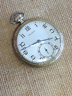 05584769a14 14 SIZE RELIANCE ILLINOIS ELGIN USA 7 JEWELS VINTAGE POCKET WATCH CLEAN