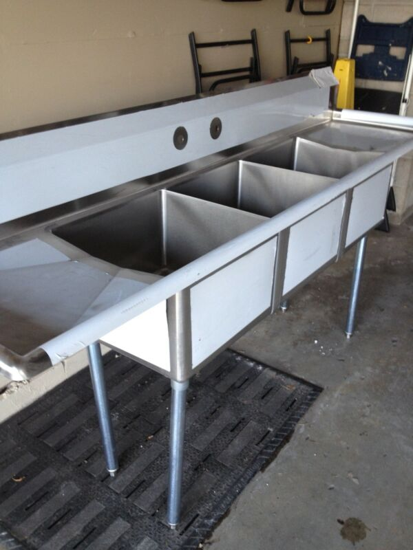 "90"" Stainless Steel 3 Compartment Sink With Drain Boards"