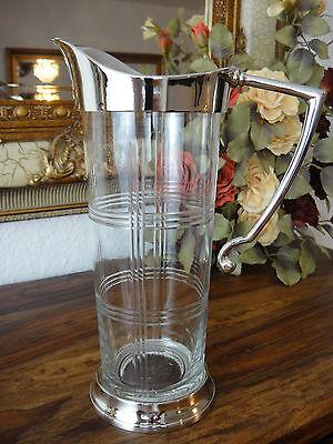 Karaffe Krug Kanne Wasserkrug Silber Antik Jugendstil Kristall Glas Luxus Edel