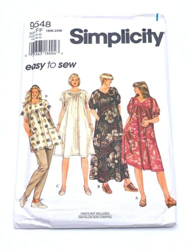 Simplicity 9548 Size FF Vintage Dress Top Pattern Easy to Sew 18w to 24w Uncut
