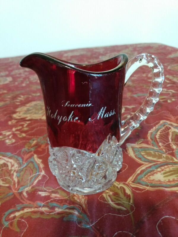Antique Near Cut Glass Ruby Flash Holyoke, Mass. Souvenir Creamer
