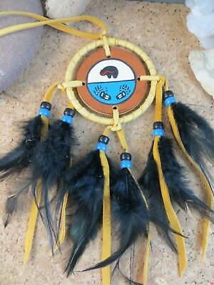 Vintage Native American Bear Spirit Dream Catcher Leather Feathers Beads 8""