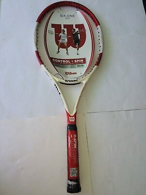 New//Rare Wilson Six-One 95 Team blk//red//wh,41//4grip,18 X 20,control /&spin,strung