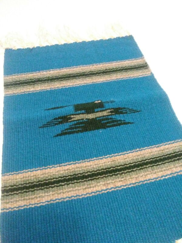 """Handcrafted Southwestern Chimayo Weaving Textile Placemat 14""""x10"""" New Mexico"""