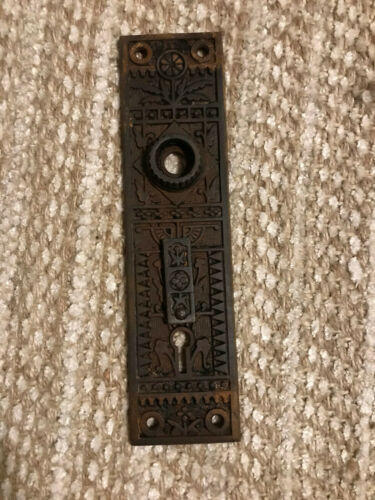 Antique cast iron Eastlake style exterior door knob plates back plates hardware
