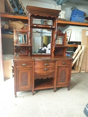 Attractive Very Large Antique Victorian Heavily Carved  Mirror Back Sideboard