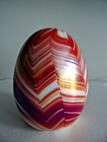 """Studio Art Glass RED White Pulled Feather EGG Paperweight  3"""" Tall Gibson Attrib"""