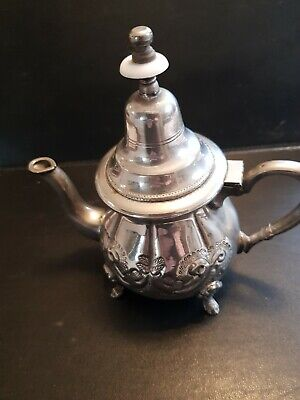 Small Decorative Silver Plate Middle Eastern Coffee tea Pot