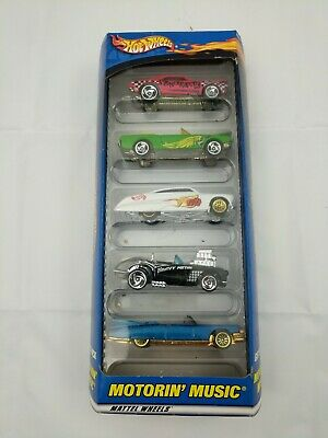 NIB Hot Wheels Motorin' Music Gift Pack 5 Car Set Camaro Mustang Corvette & More