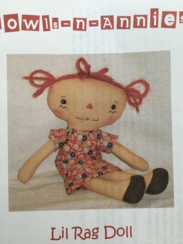 PATTERN Primitive Simple CUTE Raggedy Ann Doll UNCUT OOP Bowls n Annies RARE