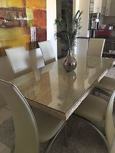 Marble dining table with 6 leather chairs Highgate Hill Brisbane South West Preview