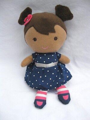 """Carters Child of Mine Brunette Plush Doll Blue Polka Dot Dress Lovey 8.5"""" Rattle"""