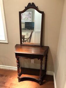 Antique wooden hall table and mirror