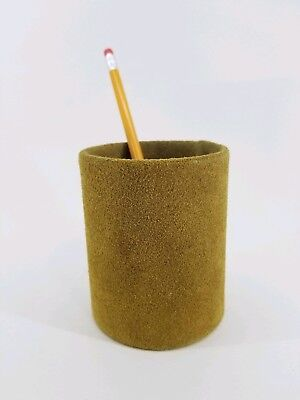 Suede Leather Organizer Pen Pencil Utensil Holder Desk Western Lodge Office Cool