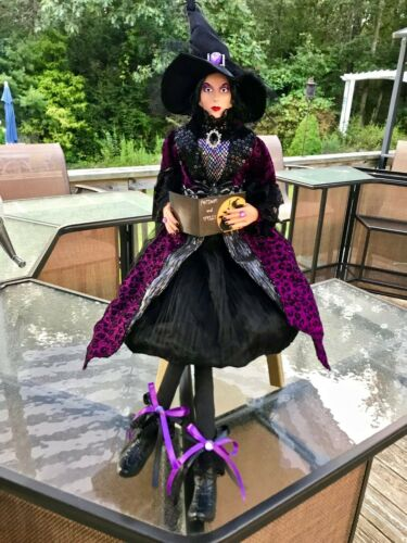 HALLOWEEN WITCH DOLL SPELL BOOK DECOR RIBBON HAT GEMS FABRIC SPIDER LEGS BOOTS