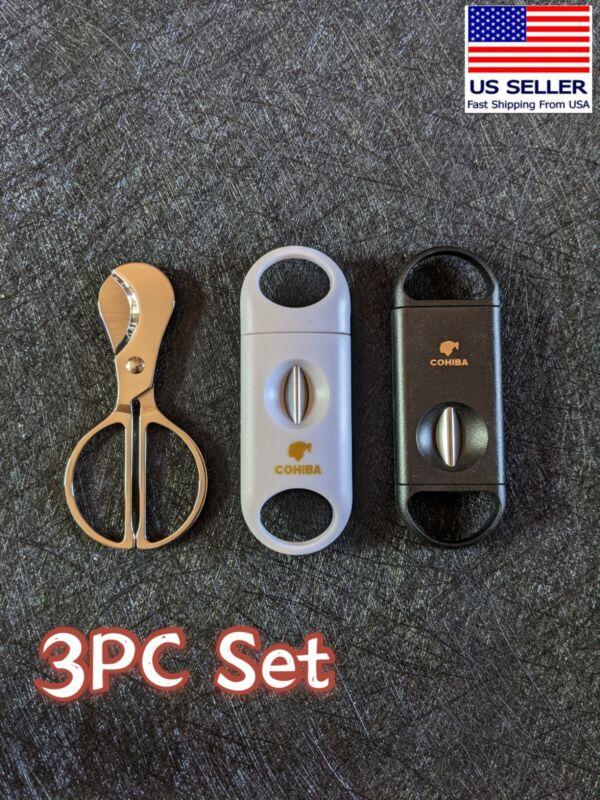 3PC Cigar cutter set double blade Cutter Cohiba V cutter
