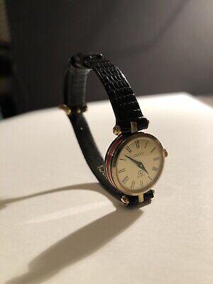 80s Vintage Red Green Web Leather Bracelet Quartz Watch