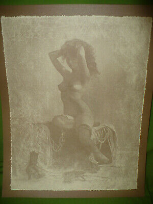 R. Hendrickson SEPIA PRINT Nude Lady On A Settee 11