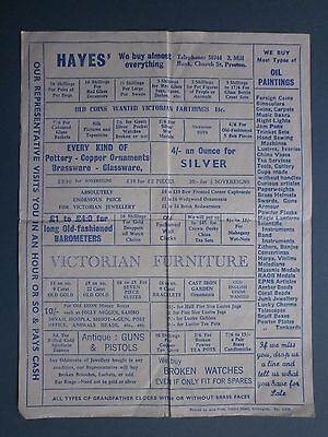 C1940'S ADVERTISING FLYER FOR HAYES' FURNITURE & GOLD ETC DEALERS OF PRESTON