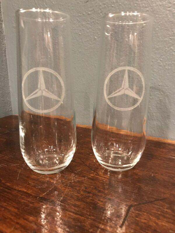 "(2) Two Highball / Champagne Glasses Mercedes Benz Etched Logo Emblem 5 3/4"""