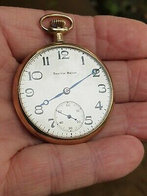 1920 South Bend 12s Pocket Watch, Great Dial, 15J,Original GF Case,Runs
