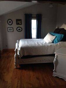 Queen bed frame and night stand