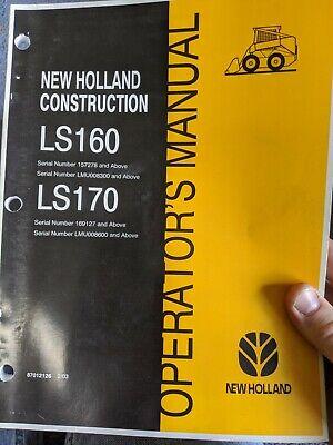 New Holland Ls160 Ls170 Skid Steer Factory Operators Manual Oem