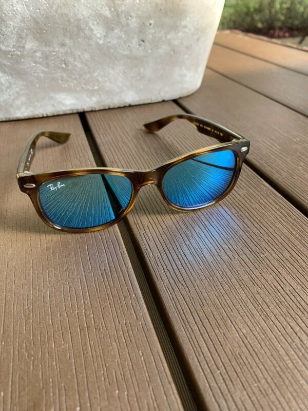 Ray Ban Wayfarer Jr Kids Tortoise Shell Sunglasses Blue Flash Mirror Lenses GU