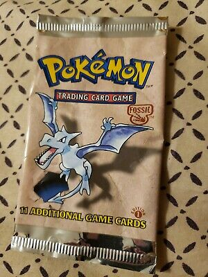 Pokemon 1st Edition Fossil Booster Pack AERODACTYL Art Empty Foil Wrapper 1999