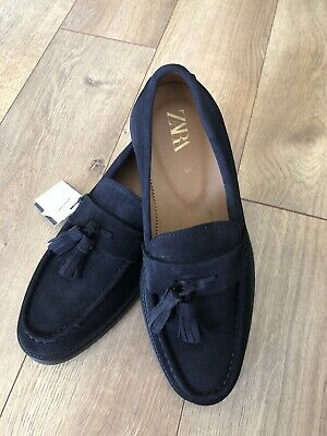 New Mens Zara Light Leather Loafers Shoes Dark Navy Size 7