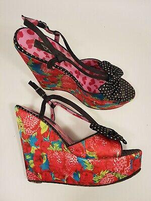 Iron Fist size 5 (38) strawberry print satin buckle strap platform wedge heels