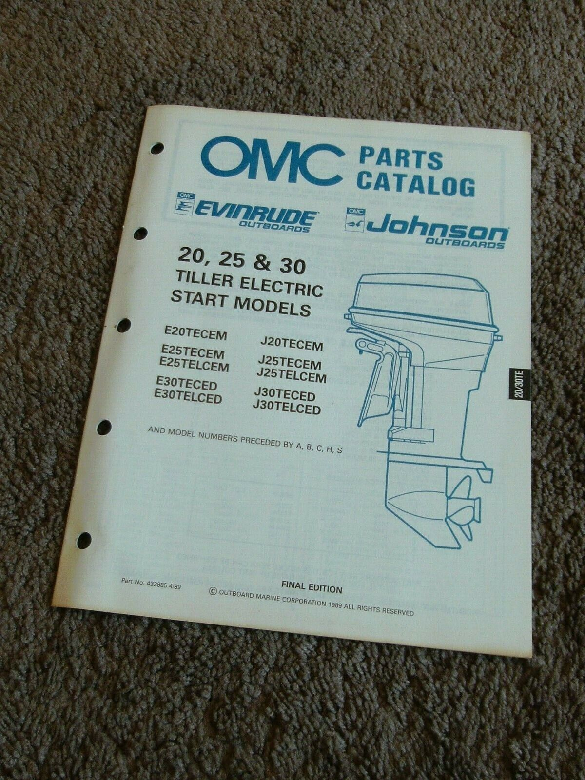 1989 OMC Evinrude Johnson Parts Catalog Manual 20 25 30 HP Tiller Electric Start
